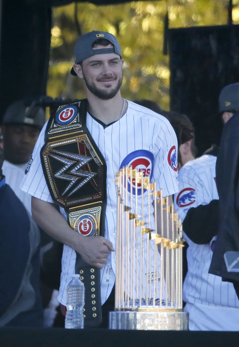 d21e1ccd3 Chicago Cubs  Chris Bryant is introduced to the crowd during a rally in Grant  Park honoring the World Series baseball champions Friday
